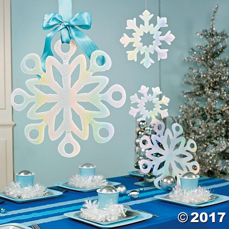 Large iridescent snowflake shapes...