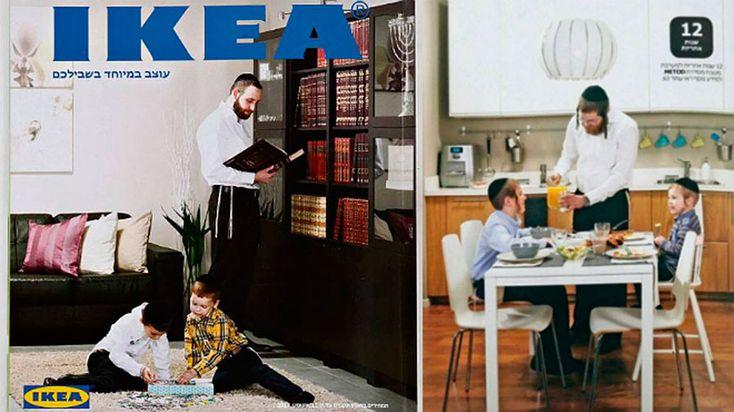 La famosa tienda de hogar sueca, IKEA se disculpó por el catálogo lazando hace unos días para los judíos ortodoxos en el que únicamente aparecen hombres y niños dejando de lado la figura de la mujer.  Ikea. Tienda. Catálogo. Polémica. Diseño de mobiliario. Tiendas de diseño. Decoración.