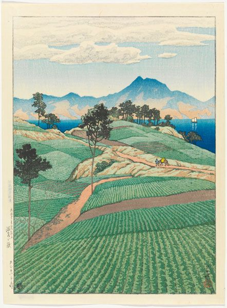 """Kawase Hasui, """"Mt. Unzen Seen from Amakusa,"""" from the series """"Selection of Scenes of Japan,"""" 1922, woodblock print, ink and color on paper"""
