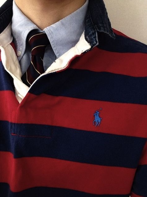 Polo Ralph Lauren Rugby Shirt and Oxford and Tie #Prep #Preppy