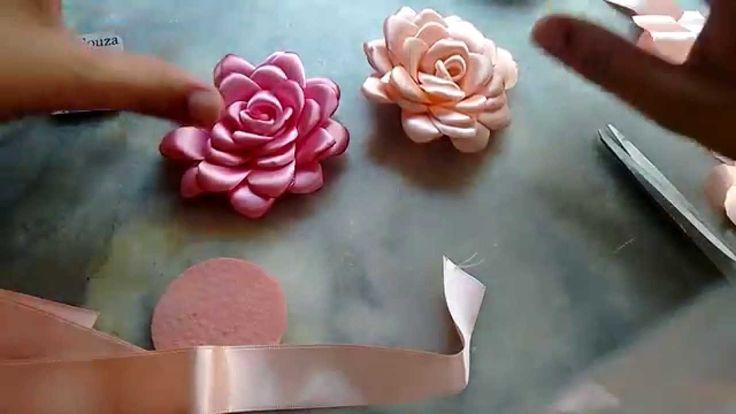Flor boleada de fita de cetim, PARTE 1                                                                                                                                                     Mais