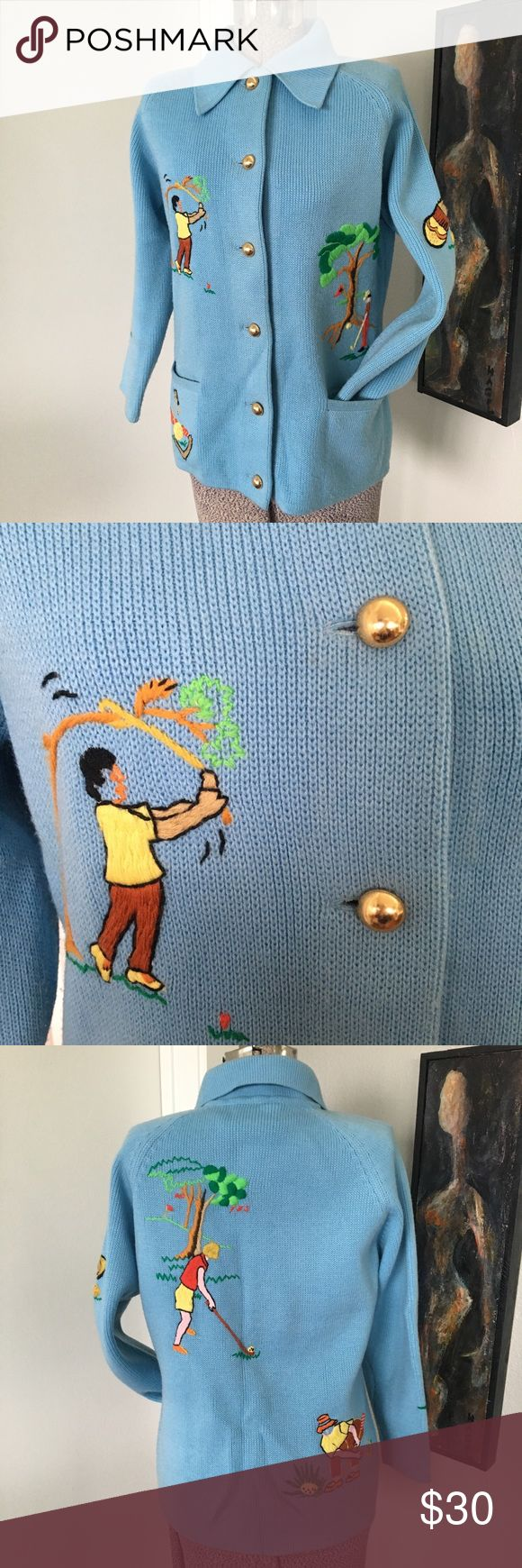 VINTAGE Gold Hand Embroidered Sweater Cardigan So cute and funny.  Thick poly weave. Warm with perfect gold plastic buttons.   I really want to think this wearer sewed these ladies in homage to her golf group.  No staining.   In great vintage shape! Vintage Sweaters Cardigans