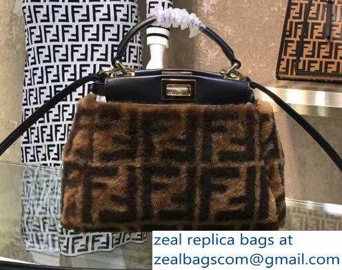 cfa168032fa0 Fendi FF Print Multicolor Shearling Peekaboo Mini Bag 2018