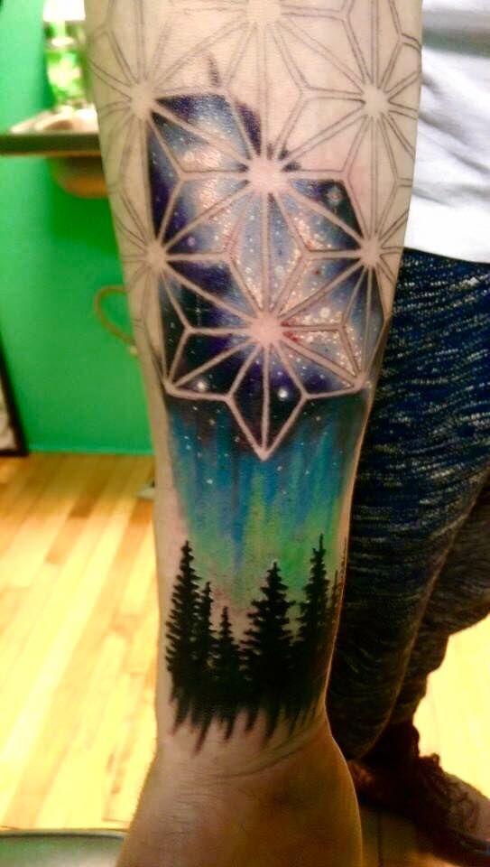 Arm Tattoos -                                                              geometric night sky tattoo - Google Search