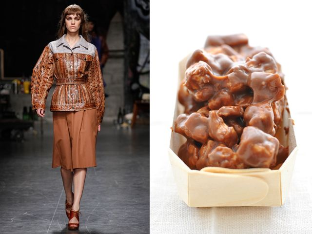Trussardi ss 2013 / Chocolate and caramel puffed rice cake