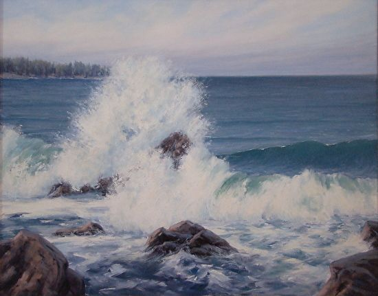 """Monastery Beach  24"""" x 30"""" oil, $3800, available now at The Grapevine Gallery"""