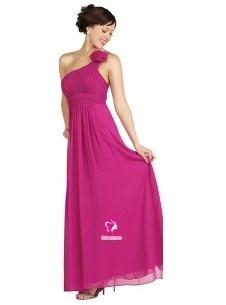 Fourreau Épaule asymétrique Longueur cheville Robe de soirée en Mousseline polyester avec Fleurs manuelles Ruché(FR0248079)