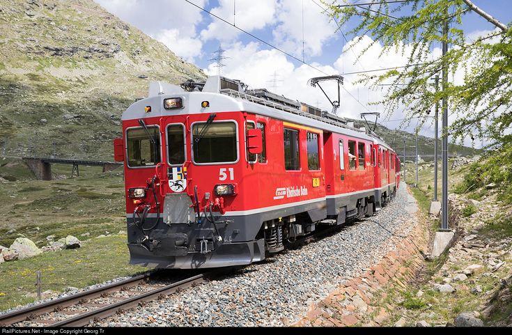 51, 53 RhB - Rhätische Bahn ABe 4/4 at Bernina Lagalb, Switzerland by Georg Trüb