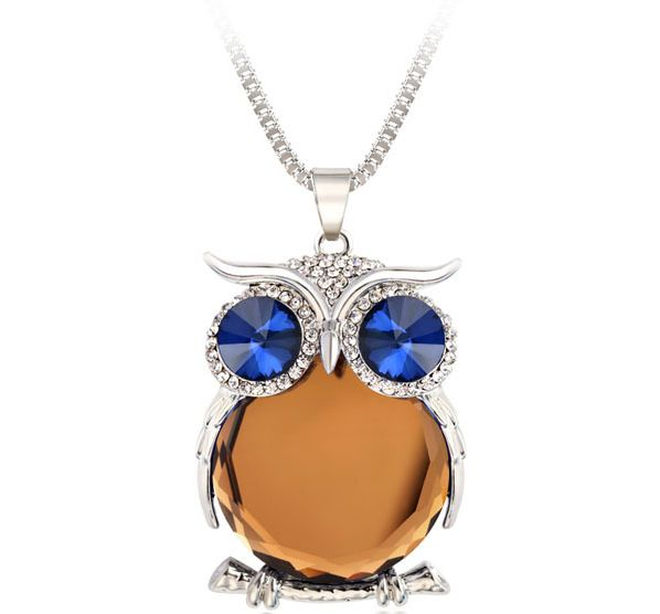 Yellow Owl Necklace Top Quality Rhinestone Crystal Pendant Necklaces Classic Animal Long Necklace Jewelry For Women Gift