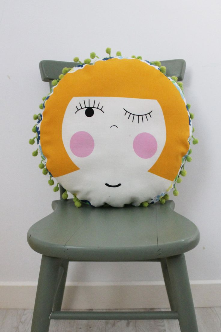 Milly Circular Cushion with Pom Pom Trim by HullabalooKids on Etsy