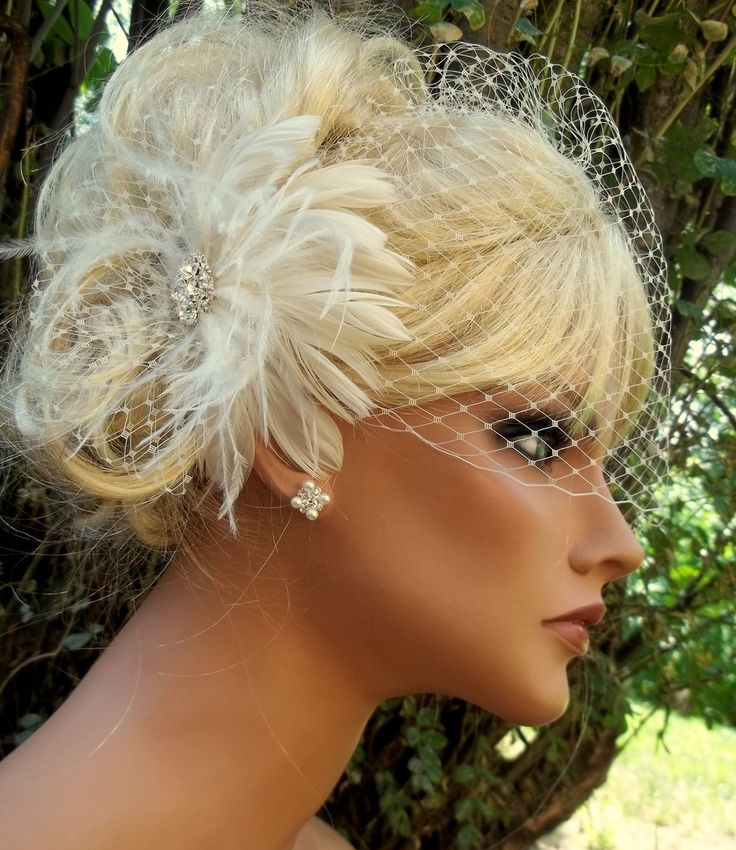 IVORY Birdcage Veil Fascinator Bridal veil, wedding hair clip feather fascinator-in Bridal Veils from Apparel & Accessories on Aliexpress.co...