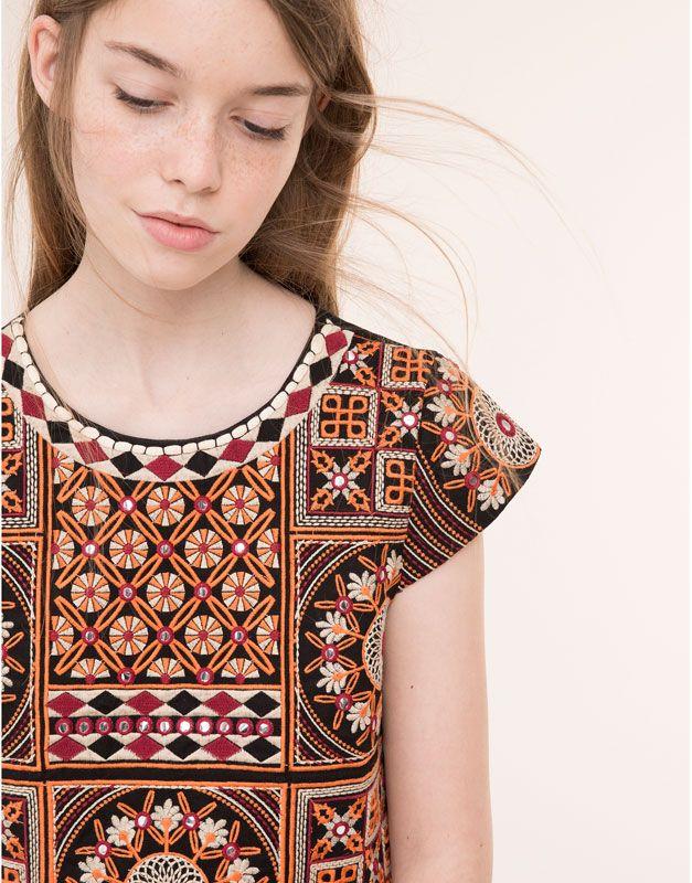 Pull&Bear - mujer - blusas y camisas - top crochet bordados - naranja - 09471359-I2015