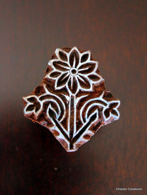 Hand Carved Indian Wood Textile Stamp Block- Floral Motif via Etsy