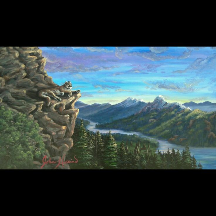 """Cat Nap"" Acrylic on giant 3x6 foot stretched canvas. I had to dig deep into my mind for this one. I refused to look at any pictures for reference. The rock cliff was definitely a struggle but that's how rock look in my brain! Stay ARTSY my friends! #handmade #art #mountain #cougar #lion #painting #utah #rocks #river #acrylic #canvas #rockies #teepee"