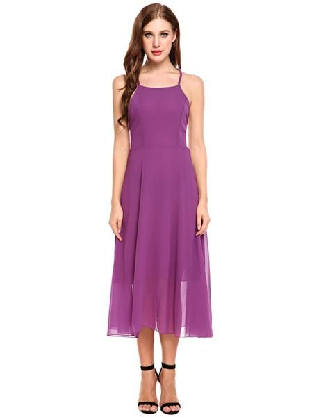 Purple Sleeveless Cross Back Strap Backless Flared Chiffon Going Out Dress