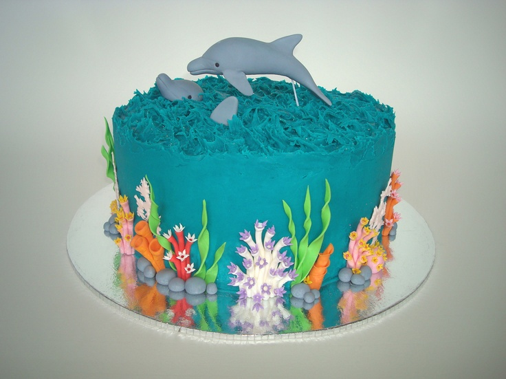 Dolphin Coral Reef Cake ♥ 22cm round rich decadent chocolate cake with rich chocolate ganache filling, coloured white chocolate ganache coating, & lots of hand made edible gumpaste decorations. 01-04-12