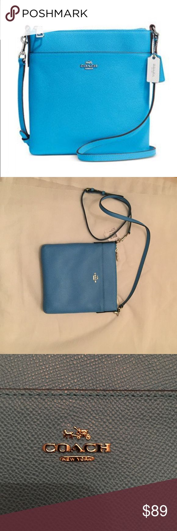 Authentic Azure Courier purse Set the tone in 2017!  Updated in embossed leather with a delicate yet durable texture, the slender North/South Swingpack keeps valuables securely stowed for weekends and travel. It comes with an adjustable, edge-painted strap for a comfortable, hands-free carry. Coach Bags Crossbody Bags