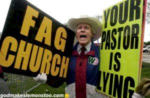 """fred-phelps-wildrose-signs.....I just read that 84 year old Pastor Fred Phelps  died. According to his daughter Margie Phelps, he passed away around midnight Wednesday. He was the founder of a small Kansas church made up of mostly """"family members."""" His claim to fame was condemning gays."""