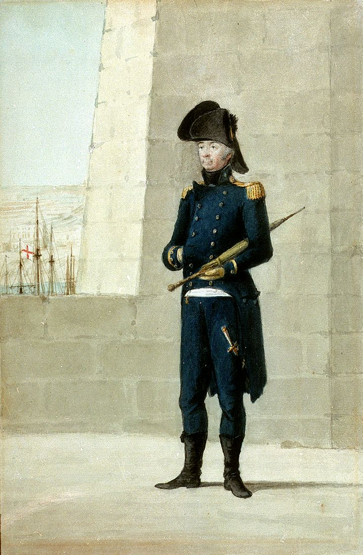 Unknown gentleman wearing officer's uniform of 1795-1812. One of four painted in Malta. Shows undress coat, epaulettes, cocked hat, blue pantaloons, black hessian boots, dirk and black stock