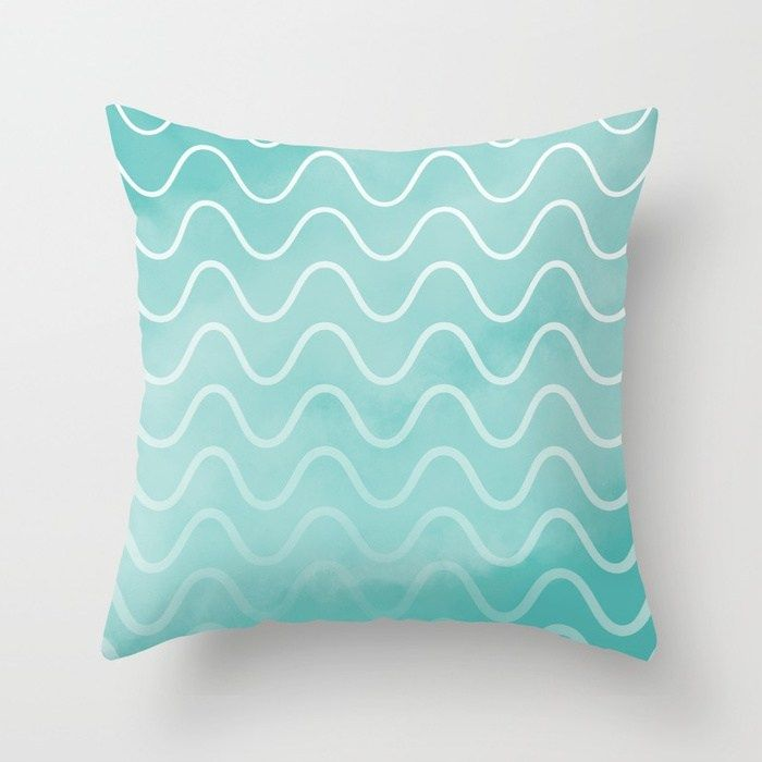 Teal Blue Ocean waves teal blue wave pattern Pillow