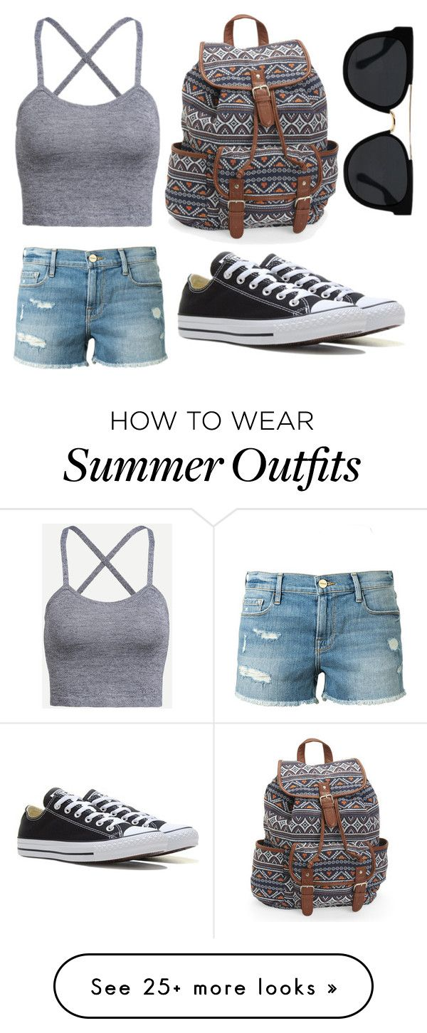 """""""Summer outfit for women"""" by hasekopf on Polyvore featuring Frame Denim, Converse, Aéropostale and Quay"""