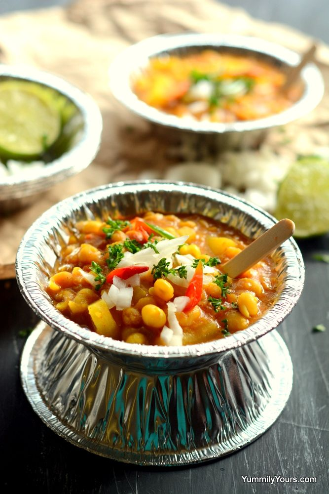"""Ghugni Chaat is a popularl street food from India. Made of dried peas, an ultimate """"healthy snack idea"""" as well as a perfect curry to go with most breads."""