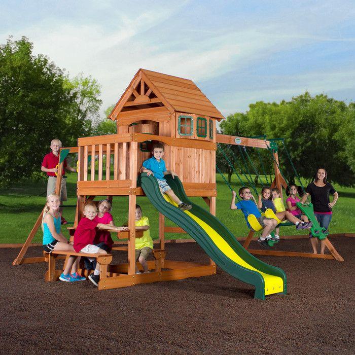 Springboro all Cedar Swing Set | Cedar swing sets, Wood ...