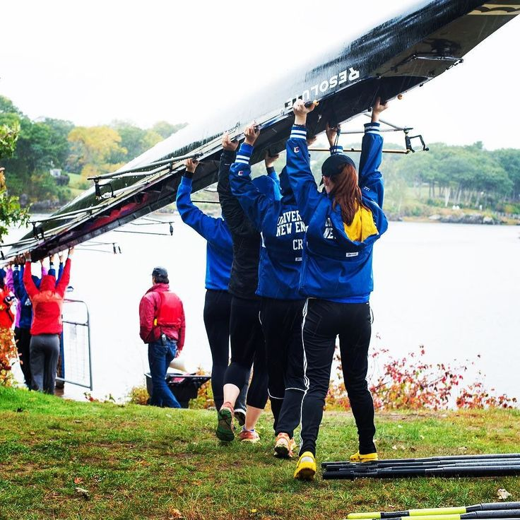 The rowing club is fortune to have access to a major body of water right on campus. Here is the row team getting the boat off the racks and into the water. @une_crew #rowing #collegerowing #rowingclub #crewteam #crewlife #universityofnewengland #maine #sacoriver #getoutside