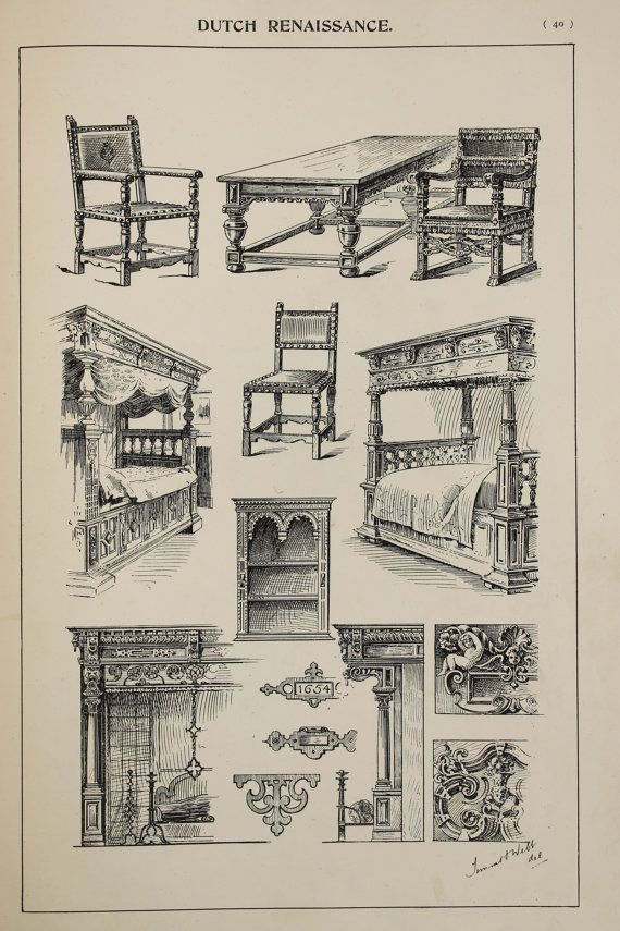 Dutch Renaissance Furniture Designs Large Antique by PaperPopinjay