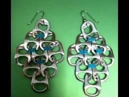 diy earrings made of tabs from cans