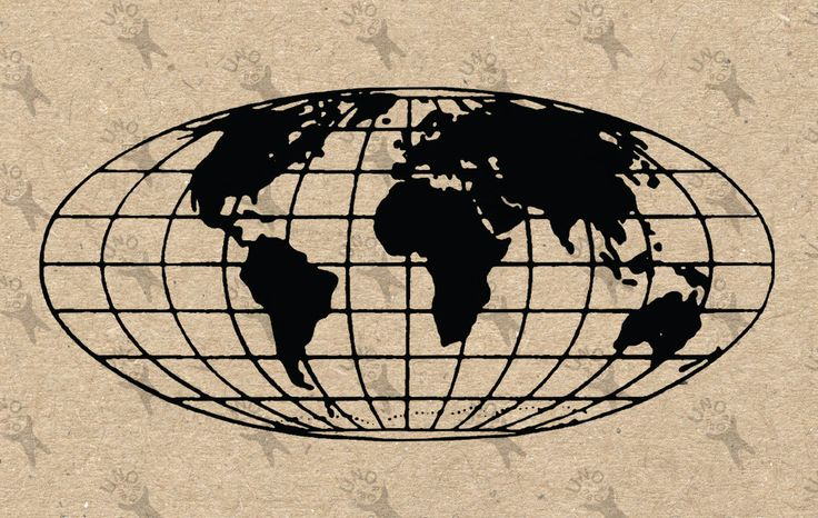 Vintage Map of the World Global Maps silhouette Instant Download image printable picture  for scrapbooking, decor,  prints, etc HQ 300dpi by UnoPrint on Etsy
