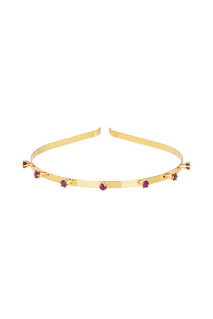 VENEZIA CROWN IN RHODOLITE GARNET AND GOLD | Fine headband bejewelled with crown set diamond cut Rhodolite garnet gemstones.