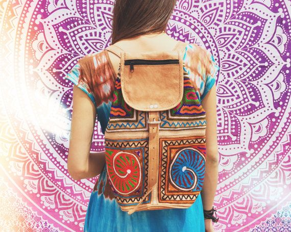 VINTAGE LEATHER BACKPACK  Embroidered ethnic by RubySparrowDesign