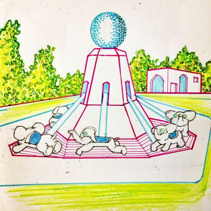 """hello dawn"" #drawing #graphic #artwork #elephant #kidspark #holiday  #atracion #perspective #colourful #plants #tree #grass #garden #resort #pop #tokyo #japan #keijiito #ufg"