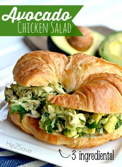 Avocado Chicken Salad 2 cups shredded chicken (I used rotisserie chicken) 1 large avocado, cored & chopped 1/4 cup cilantro, chopped *salt & pepper to taste