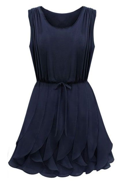 ROMWE | Self-tied Flouncing Blue Dress, The Latest Street Fashion  $34.99