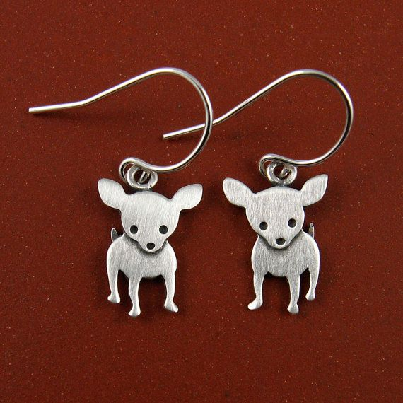 . Thought of u when I saw these Laura M......Barb :0).   Chihuahua earrings by StickManJewelry on Etsy, $37.00