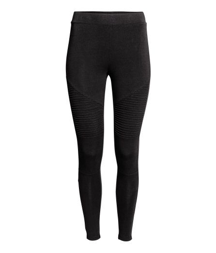 Check this out! Jersey leggings with an elasticized waistband and pin-tucks on legs. - Visit hm.com to see more.