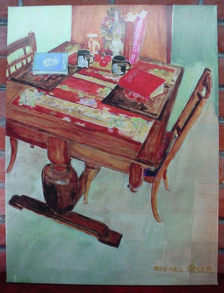 RAFAEL SOLER STILL LIFE Canvas Print KITCHEN TABLE St Elmo Book LEO VIRGO CUPS #Impressionism