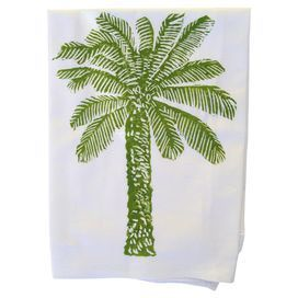 "Showcasing a palm tree motif in dark green, this hand block printed cotton dishtowel lends a touch of tropical charm to your kitchen decor.  Product: Set of 2 dishtowelsConstruction Material: 100% CottonColor: Dark greenFeatures: Hand block printedPalm tree motifDimensions: 30"" x 30"""