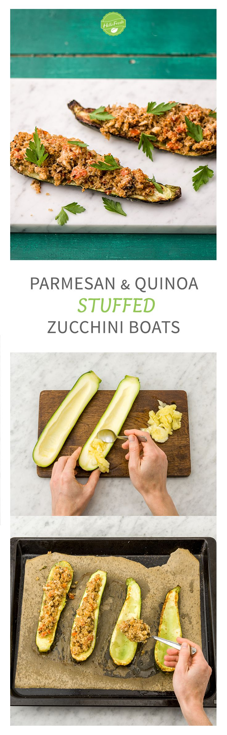 Easy and Healthy Stuffed Zucchini Boats with Mushroom Duxelles, Quinoa, and Parmesan   HelloFresh Recipe