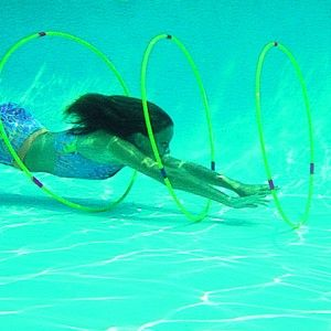3 weighted 100cm diving swim hoops - challenge yourself.