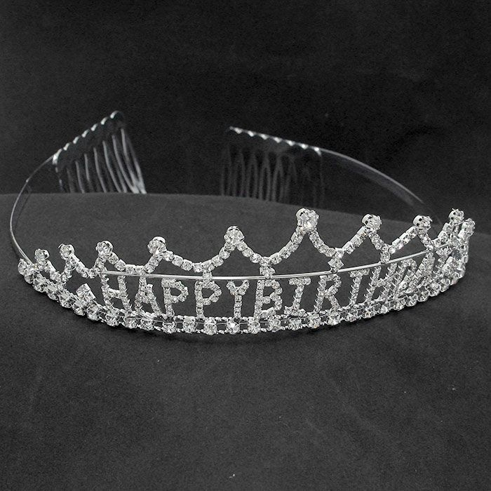 """""""Happy Birthday"""" Crystal Rhinestone Tiara $16.95 - #279525  clear  rhinestone  tiara  measures  1 3/4""""  high x 5 1/2""""  wide.  For  more  info  please  contact - Shoot  for  the  Moon  Jewelry  Designs (850) 230-9983 #tiara #happybirthday #hairaccessories"""