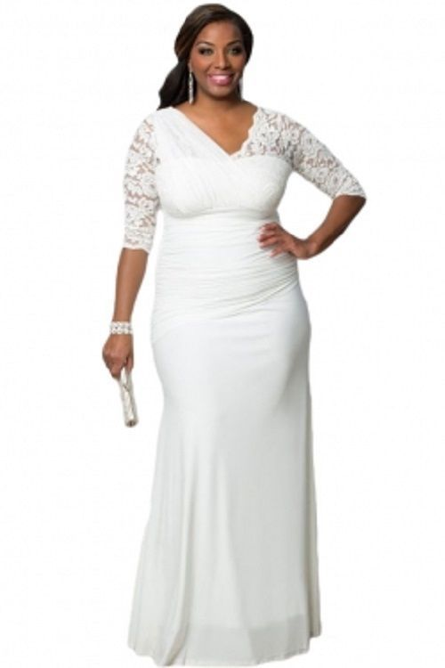 Plus Size Womens Elegant Half Sleeves White Gown / Wedding Gown1X-3X  #Unbranded #