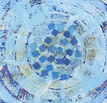 Acrylfarbe, Mosaiksteine auf Leinwand