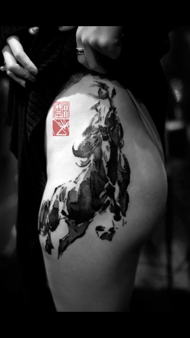 Awesome brush stroked horse tattoo artist joey pang of for Hong kong tattoo