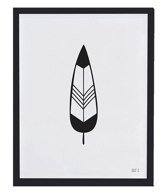 <p>Affiche noir et blanc plume, le chic du noir associ