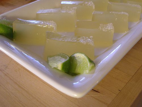"Margarita ""Knox Blox"" are like Jell-O shots, but they're firm enough to cut into little finger-food cubes. (There's also a traditional jell-o shot recipe for a more drinkable mix.)"