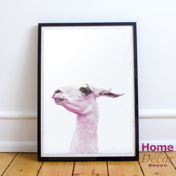 Pink Llama Printable Art Photography Animal Print by HomeDecorTips