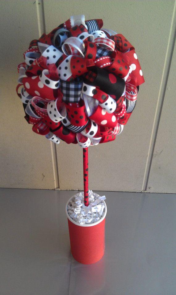 Ribbon Topiary in Ladybug Theme-Red, White & Black Ribbon Colors